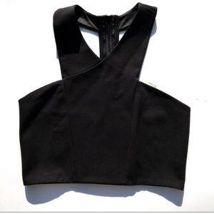 Express NWT black cropped top halter neckline